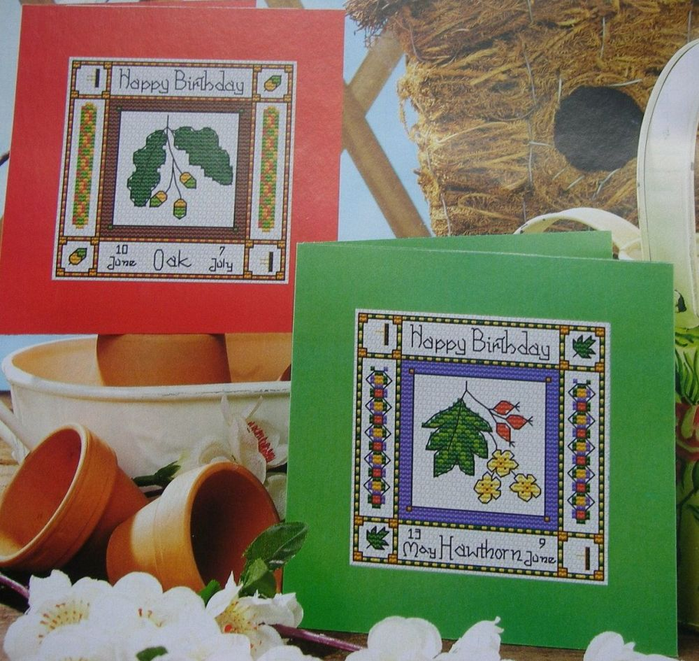 Hawthorn and Oak Celtic Birthday Cards ~ Two Cross Stitch Charts