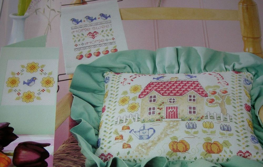 Home Sweet Home Garden Cushion & Cards ~ Cross Stitch Charts