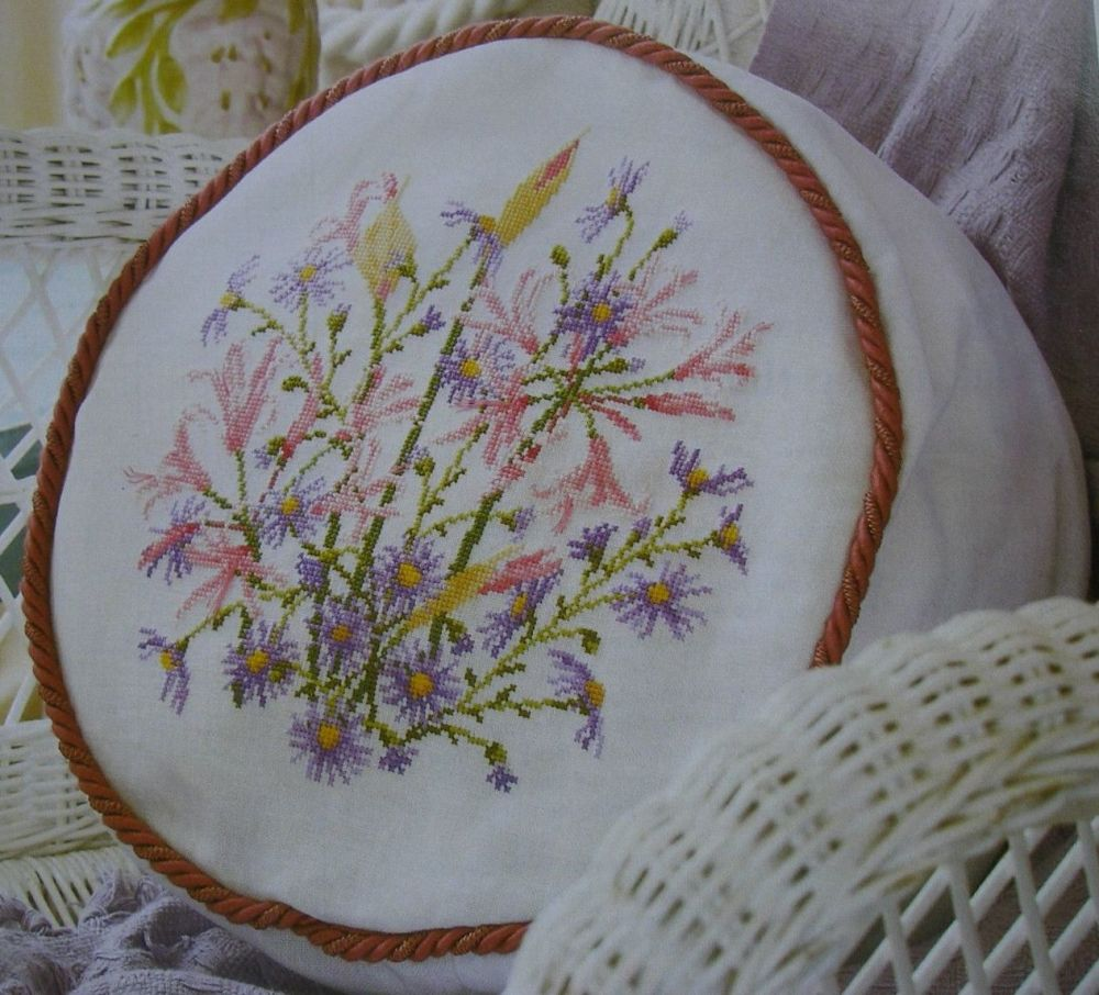 Nerines & Michaelmas Flower Cushion ~ Cross Stitch Chart
