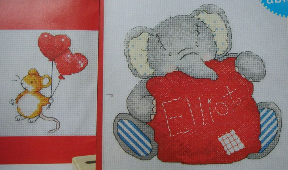 Elliot Elephant with Cushion & Buttons Mouse Card: Cross Stitch Charts