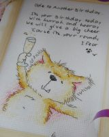 Wordsworth Cat: Ode to Another Birthday ~ Cross Stitch Chart