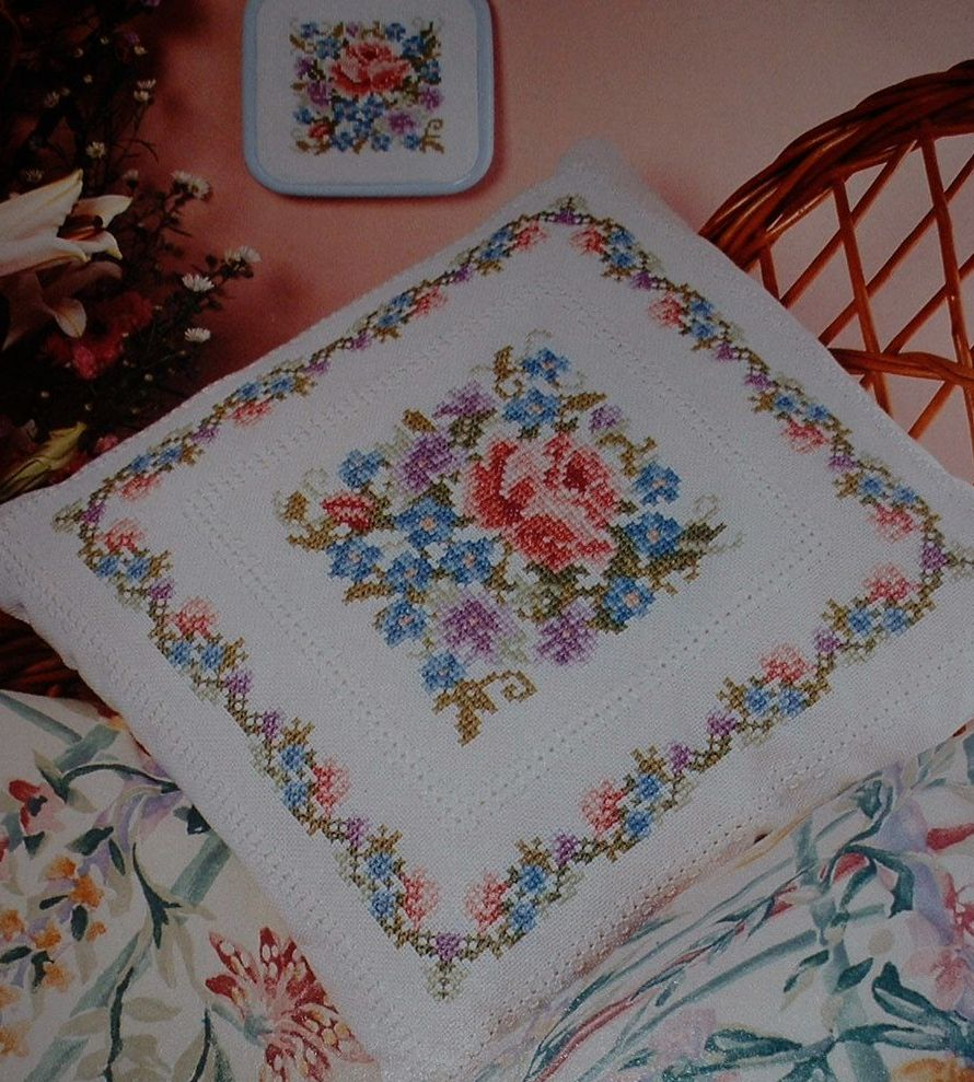 Roses & Forget-Me-Not Cushion & Dolls House Cushion ~ Cross Stitch Chart