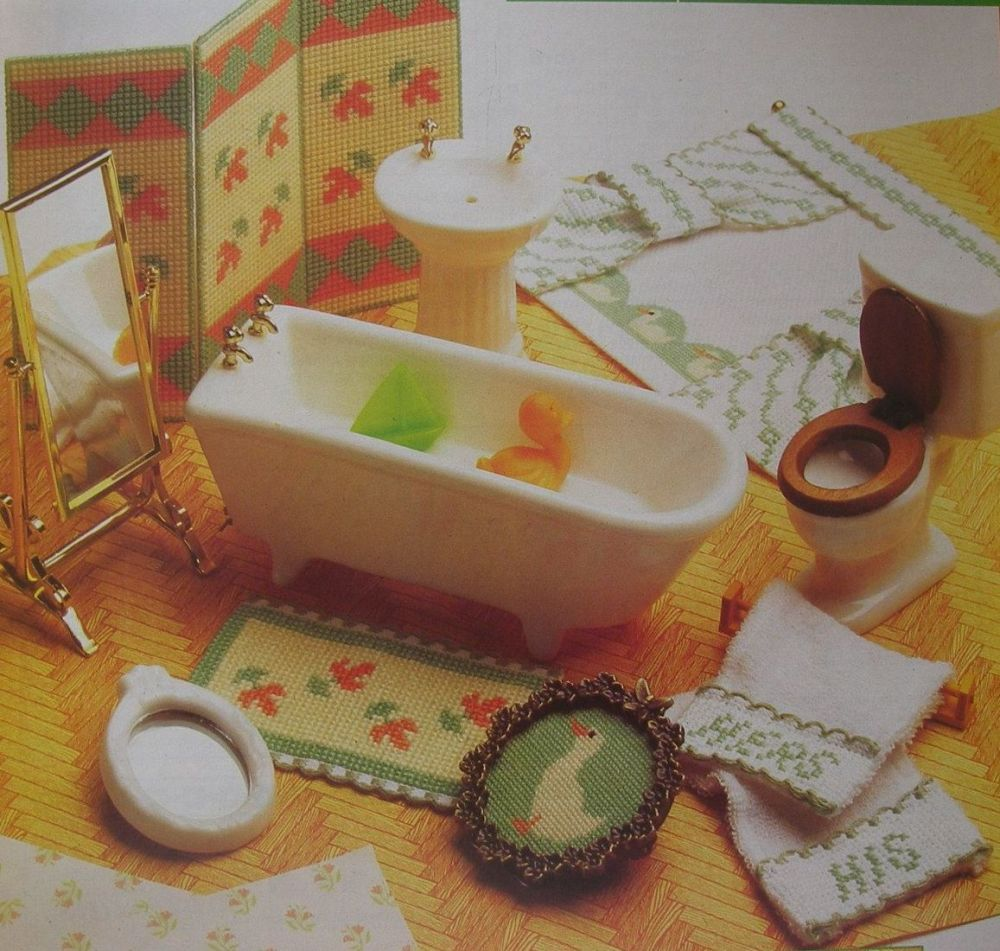 Dolls House Bathroom Accessories ~ Cross Stitch Charts