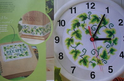 Trailing Ivy Clock, Banding & Recipe Book Cover ~ Cross Stitch Charts
