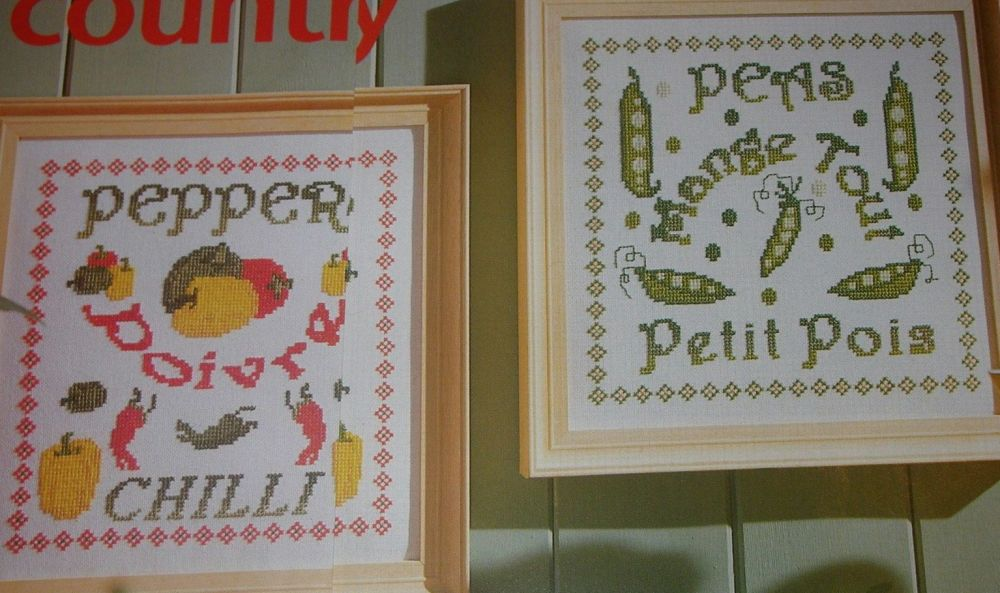 Petit Pois Peas & Chilli Peppers ~ Two Vegetable Cross Stitch Charts