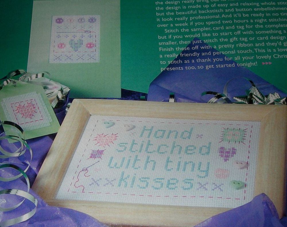 Hand Stitched with Tiny Kisses Sampler ~ 3 Cross Stitch Charts