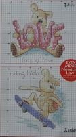 Newton's Law Bear: Lots of Love & Riding High ~ two Cross Stitch Charts