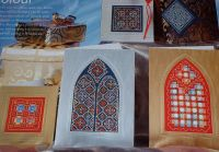 Church Window Christmas Easter Cards Decorations ~ Twelve Blackwork and Hardanger Patterns