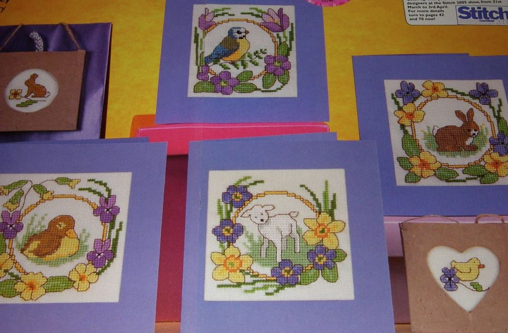 Four Spring Bird and Animal Cards ~ Cross Stitch Charts