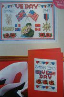 8th May 1945 VE Day Sampler Card & Cakeband: Three Cross Stitch Charts
