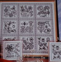 Elizabethan Flower Garden Sampler ~ Blackwork Embroidery Pattern