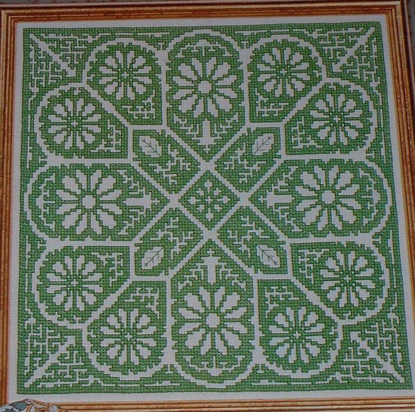 Geometric Floral Italian Assisi ~ Cross Stitch Chart