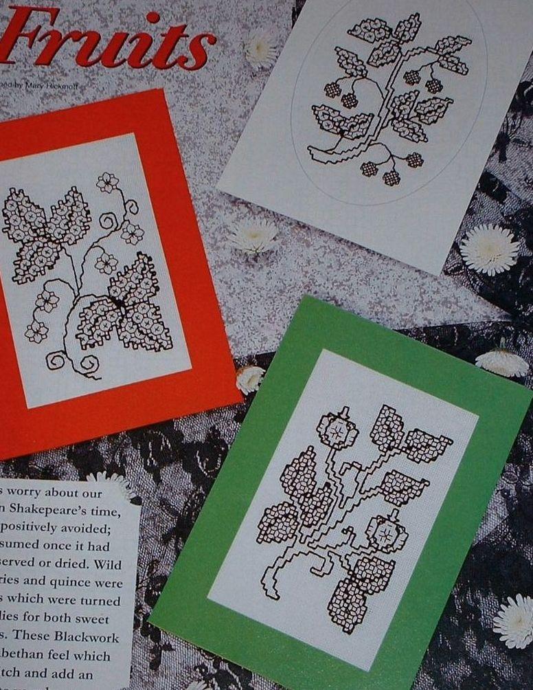 Three Tudor Fruits Blackwork Cards ~ Blackwork Patterns