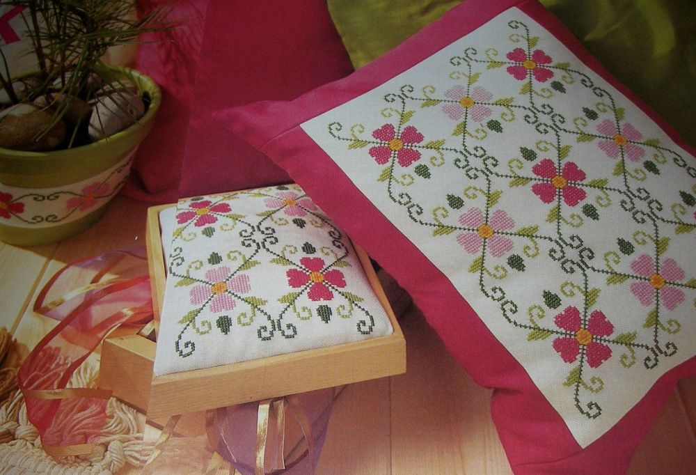 Floral Geometric Cushion ~ Cross Stitch Chart