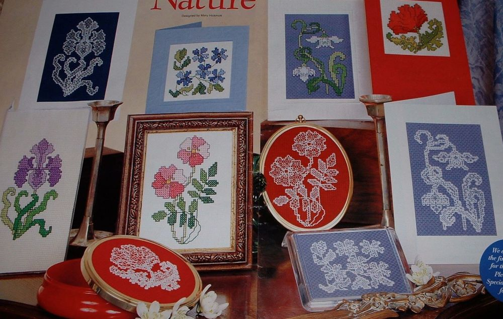 Ten Floral Card Designs in Blackwork and Cross Stitch ~ Patterns