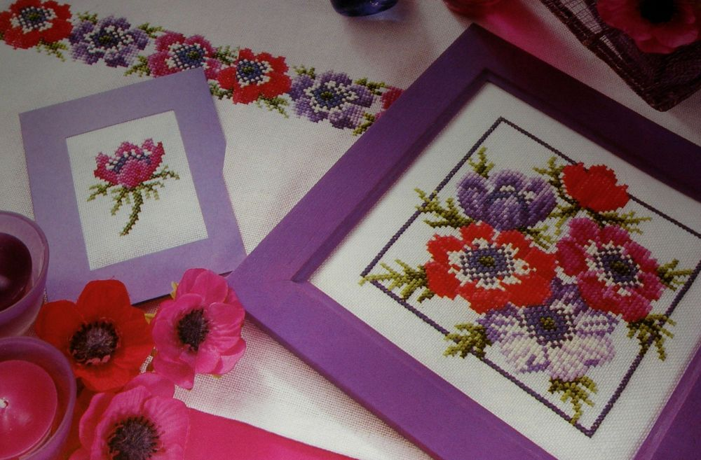Anemones ~ Three Cross Stitch Charts