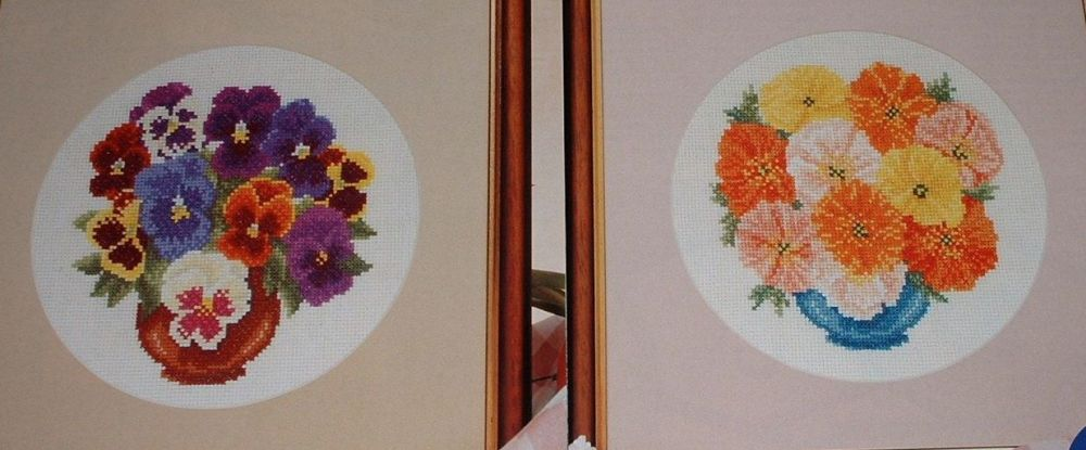 Vases of Pansies & Iceland Poppies ~ Two Cross Stitch Charts