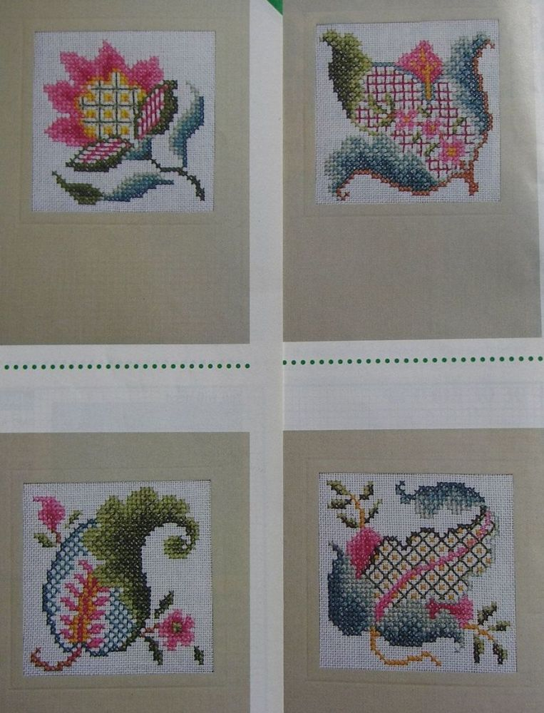 Six Jacobean Flower Cards ~ Cross Stitch Charts