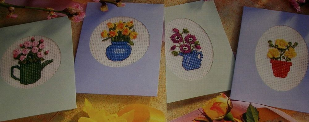 Four Ribbonwork Flower Cards ~ Ribbonwork & Cross Stitch Charts
