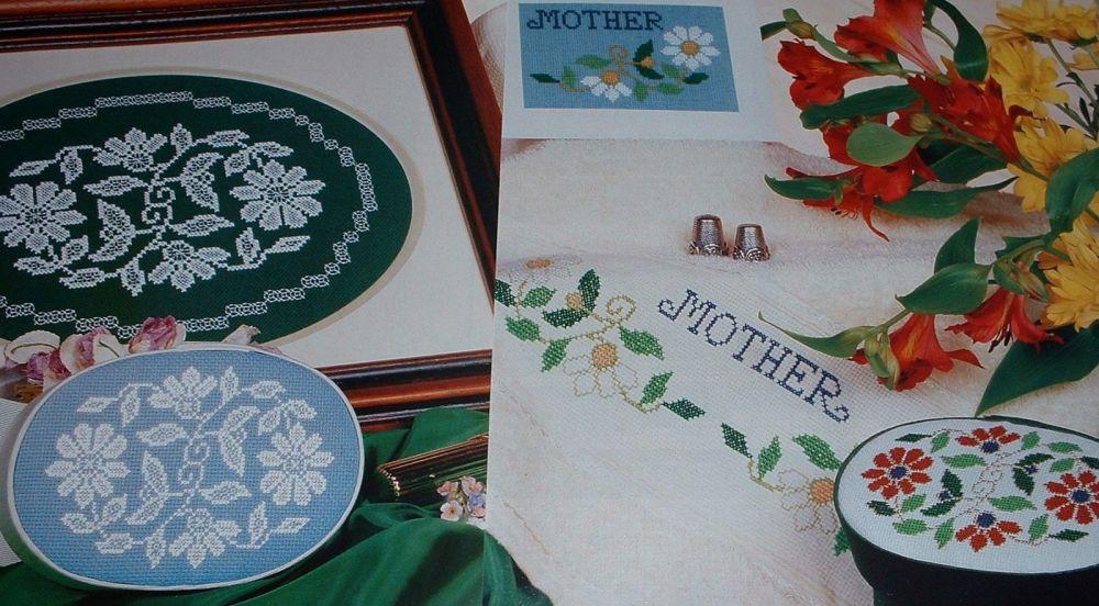 Floral Blackwork & Cross Stitch Tray & Box Lids ~ Charts