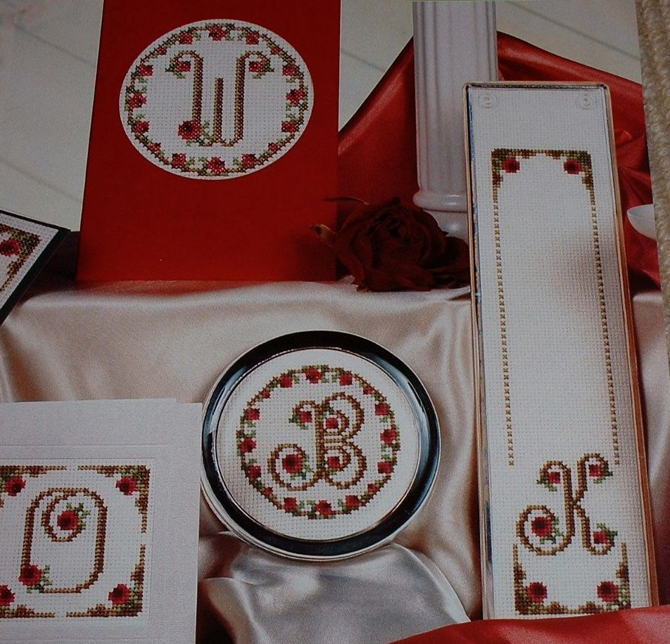 Scrolled Alphabet Embellished with Roses ABC ~ 26 Cross Stitch Charts
