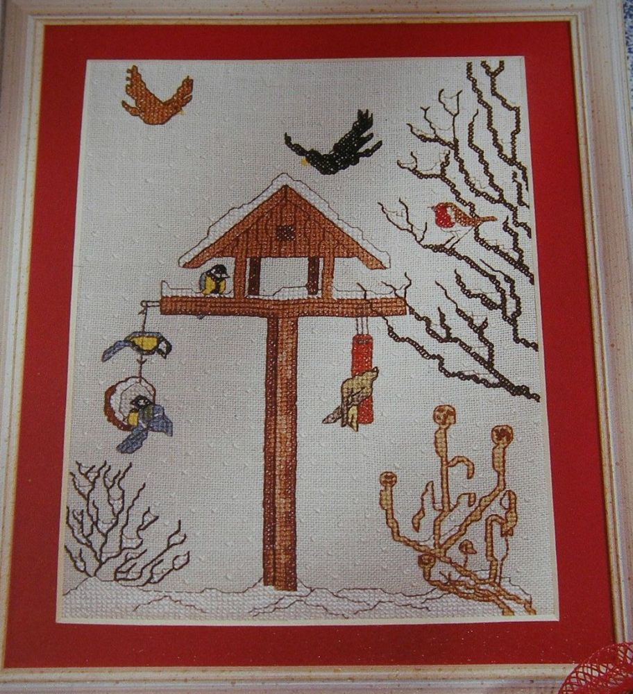 Winter Bird Table Snow Scene ~ Cross Stitch Chart