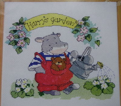 Margaret Sherry: Harry Hippo in Spring Garden ~ Cross Stitch Chart