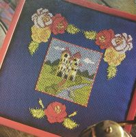 Folk Art Style Castle Scenes and Flowers ~ Two Cross Stitch Charts