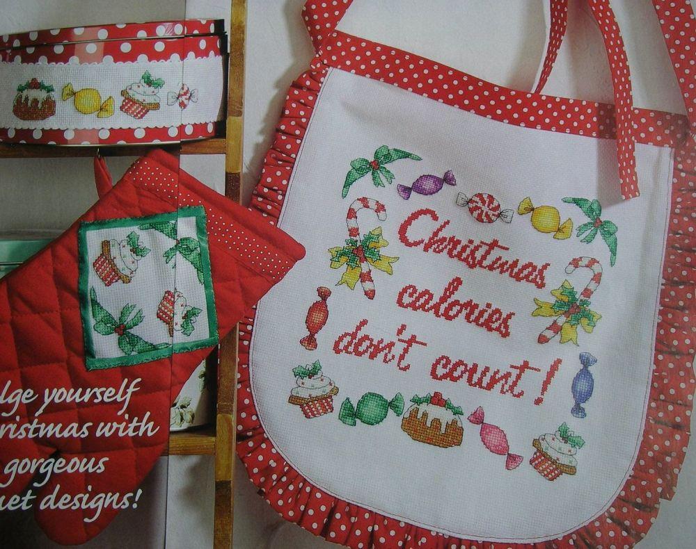 Christmas Calories Don't Count Apron ~ Cross Stitch Chart
