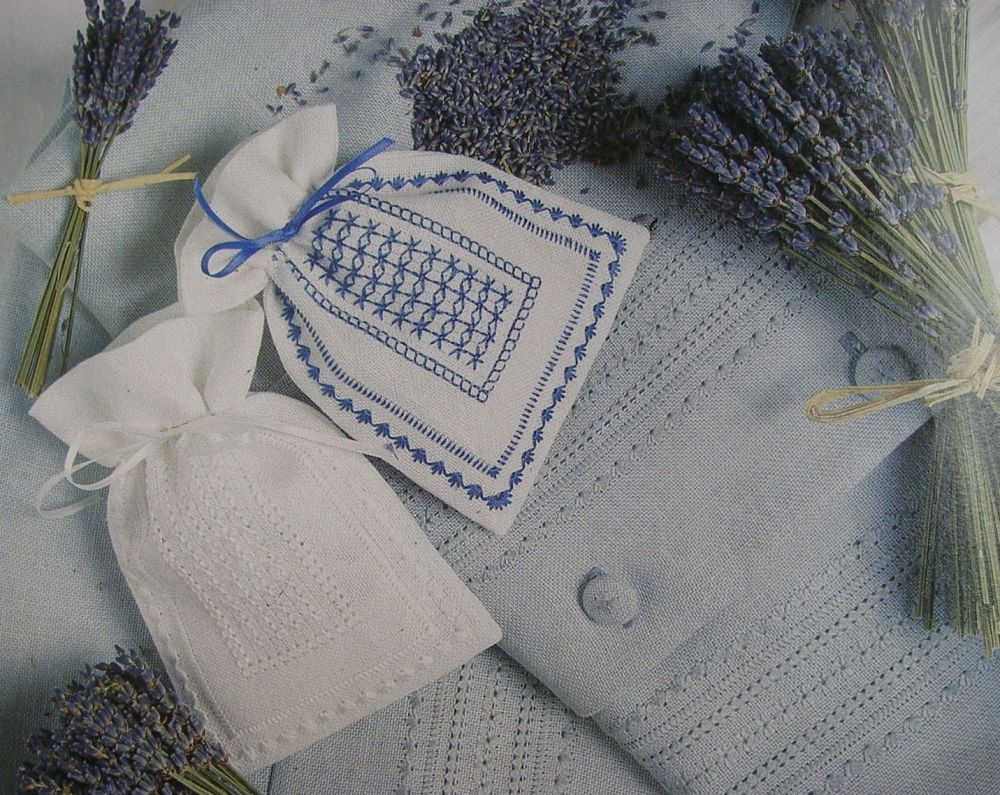 Lavender Bags ~ Pulled Work Embroidery Pattern