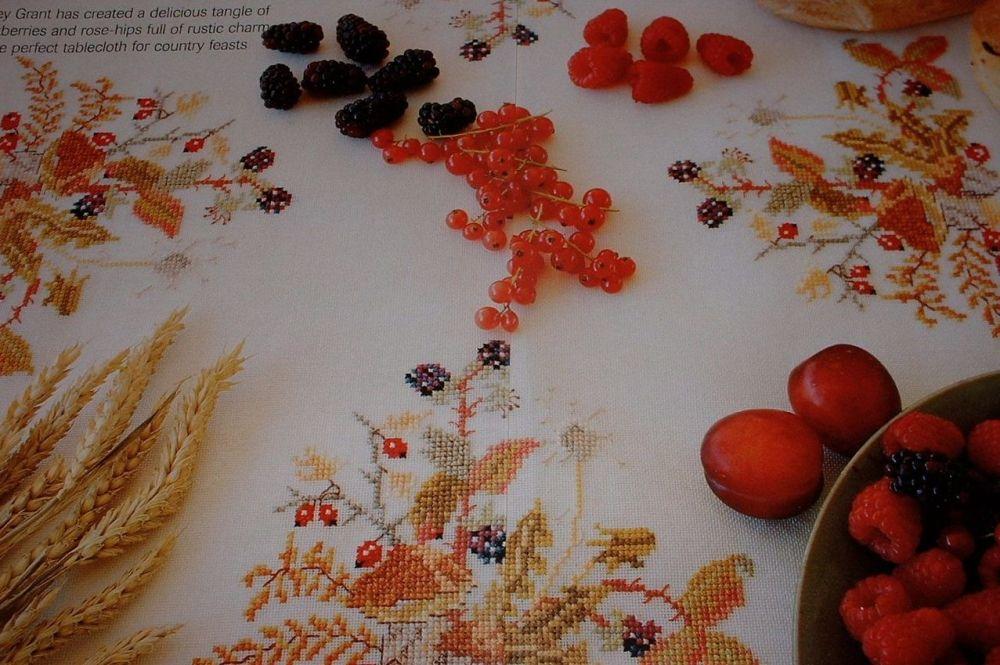 Autumn Blackberries & Rosehips Tablecloth ~ Cross Stitch Chart