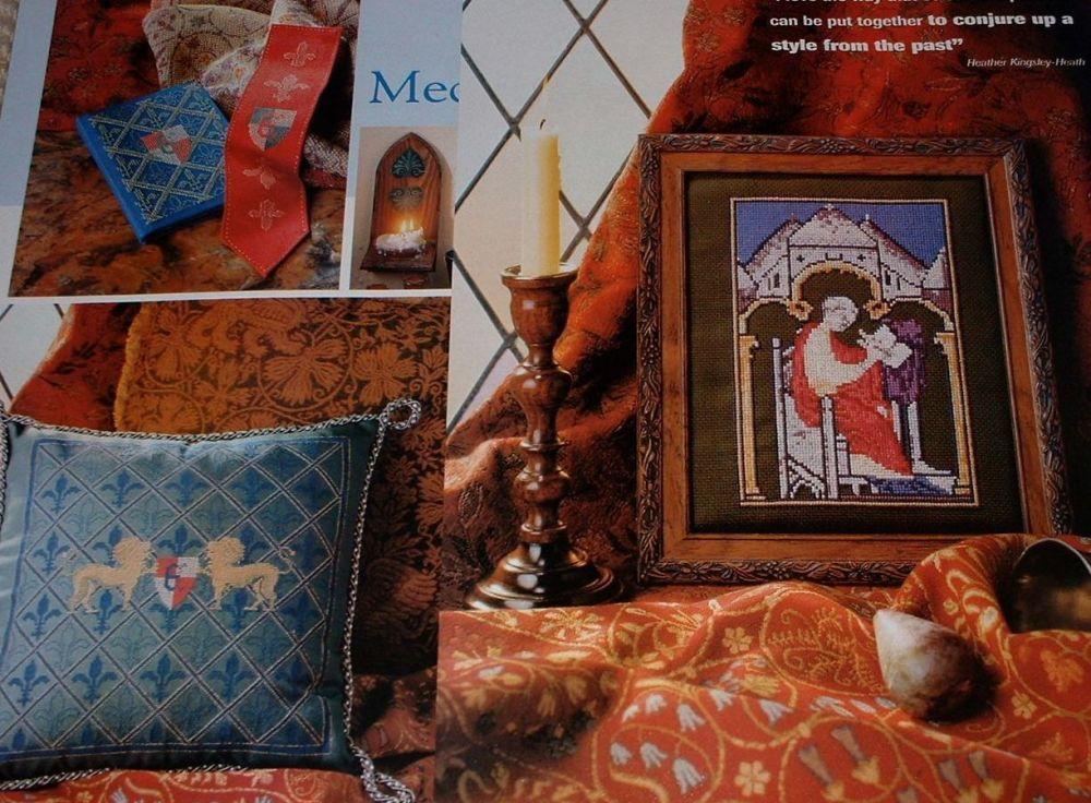 Medieval Heraldry Cushion & Ecclesiastical Figure ~ Four Cross Stitch Chart