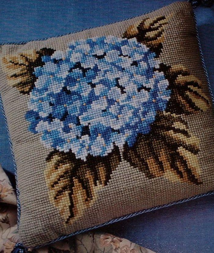 Hydrangea Flower Cushion~ Cross Stitch or Needlepoint Chart