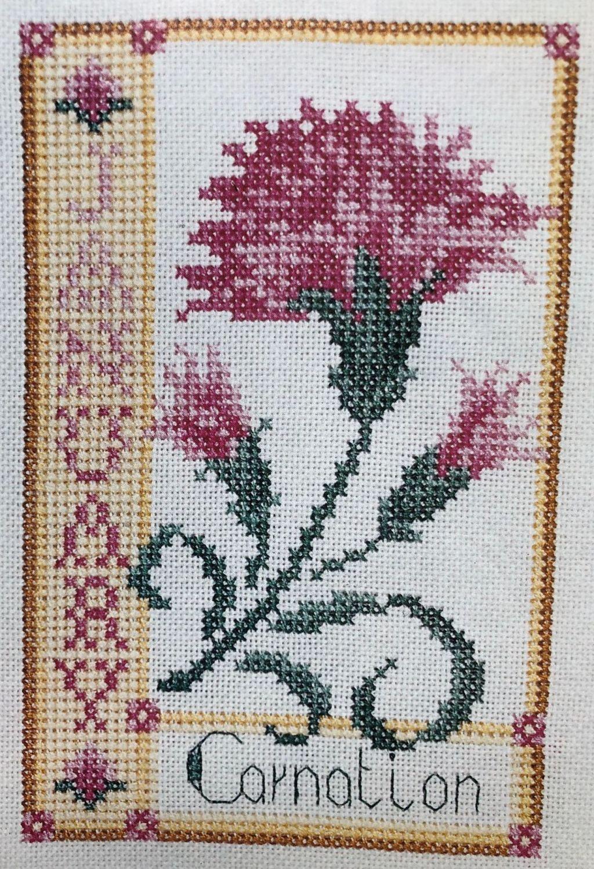 Carnation January Birthday Card ~ Cross Stitch Chart