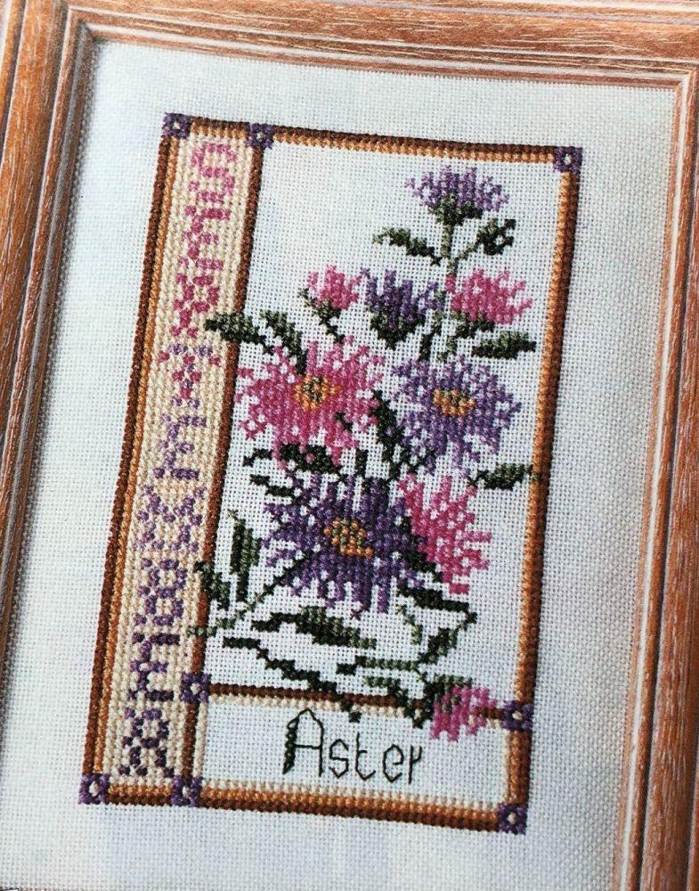 Aster September Birthday Card ~ Cross Stitch Chart