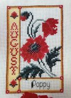 Poppy August Birthday Card ~ Cross Stitch Chart