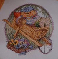Country Companions: Ed the Hedgehog in a Wheelbarrow ~ Cross Stitch Chart