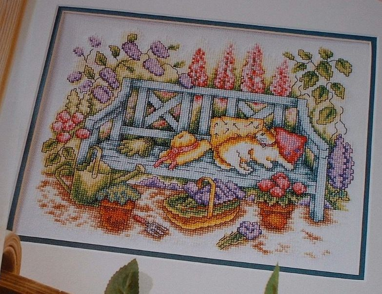 Cat on a Bench in a Cottage Garden ~ Cross Stitch Chart