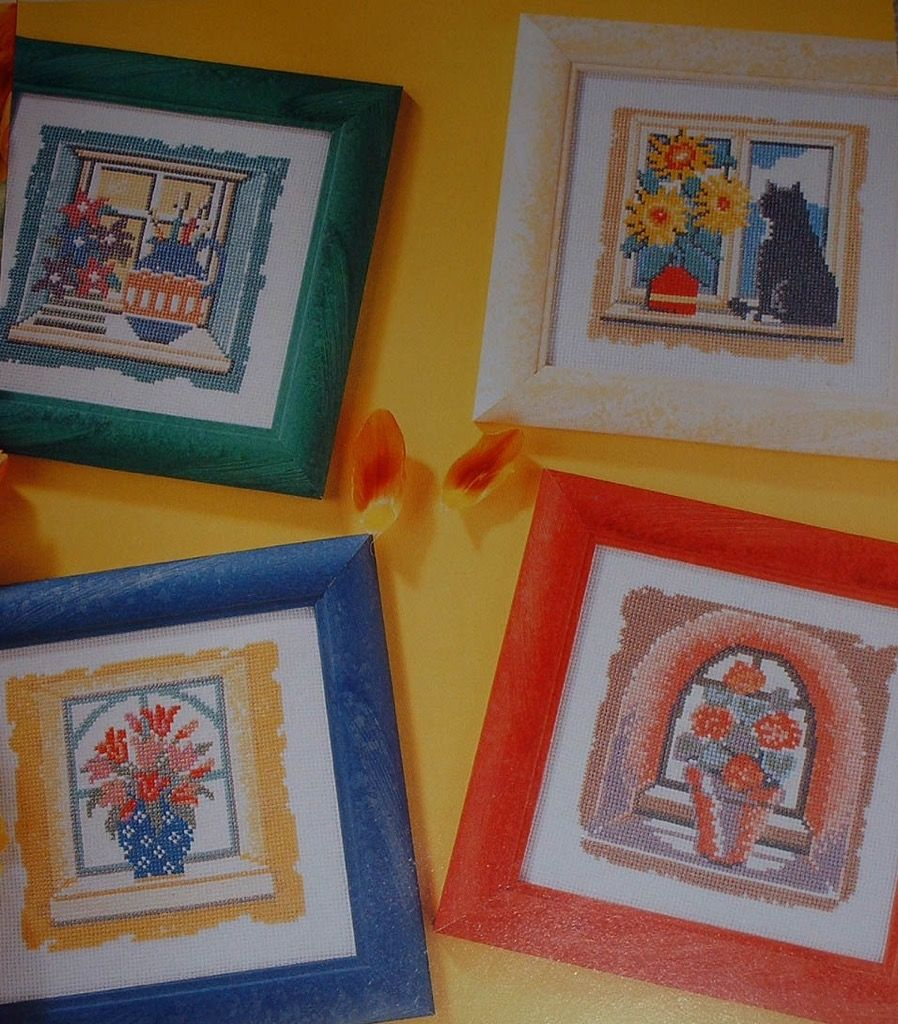 Pots of Flowers in Windows ~ Four Cross Stitch Charts