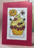 Lemon Swirl Cupcake Card ~ Cross Stitch Chart