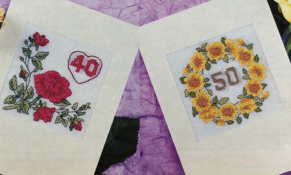 Numbered Wedding Anniversary & Birthday Cards ~ Cross Stitch Charts