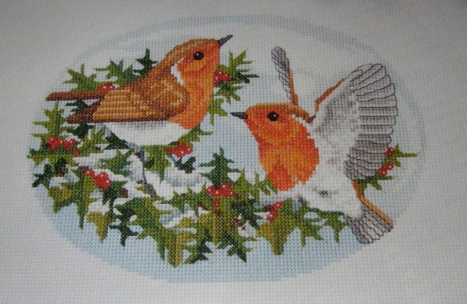 Robins Amongst the Holly ~ Cross Stitch Chart