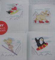 Four Comical Arctic Christmas Cards ~ Cross Stitch Charts