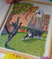 Three Cats Playing in the Garden ~ Cross Stitch Chart