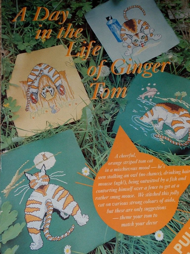 Four Ginger Tom Cat Antics ~ Cross Stitch Charts