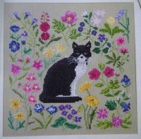 Black & White Cat Amongst the Spring Flowers ~ Cross Stitch Chart