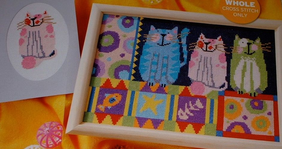 Three Colourful Cats ~ Cross Stitch Chart