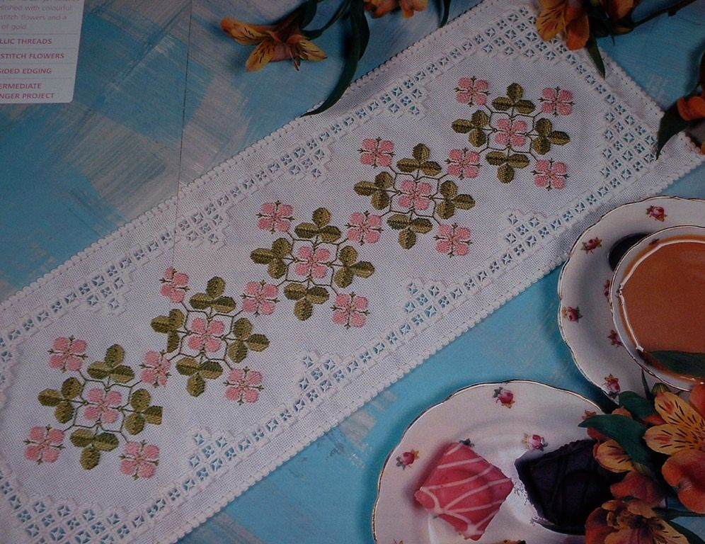 Hardanger Table Runner with Floral Centre ~ Embroidery Pattern