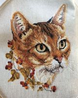 Cat with Autumn Berries ~ Cross Stitch Chart