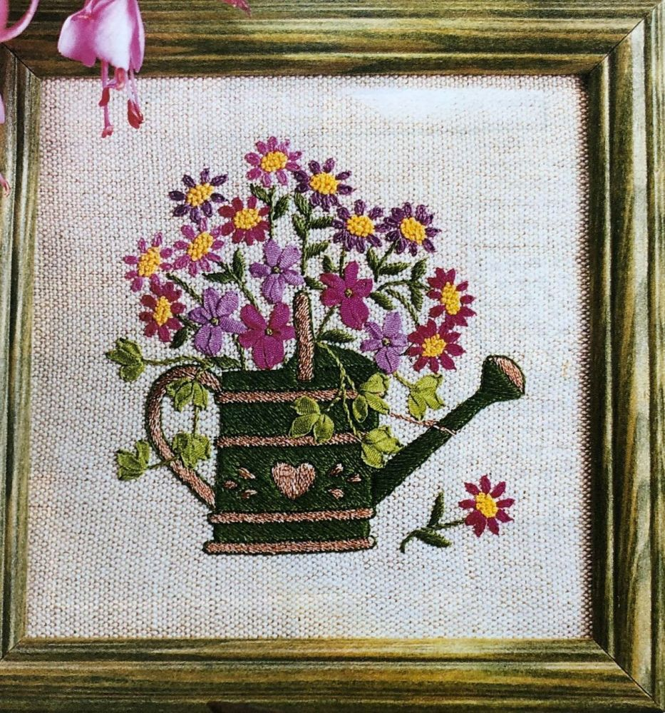 Embroidered Watering Can & Ribbonwork Flowers ~ Embroidery Pattern